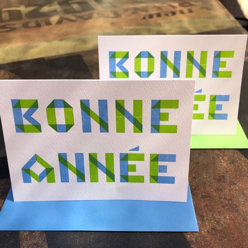 Bonne Année blue/green (packet of 6)