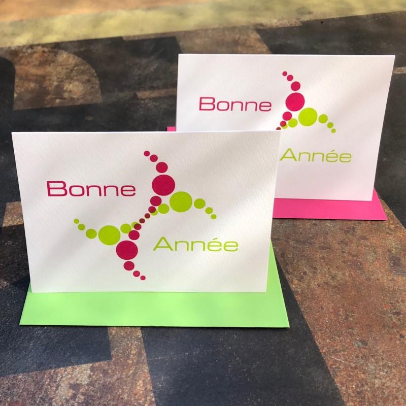 Bonne Année fuchsia/green (packet of 6)